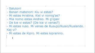 Corso di esperanto per italofoni. Lezione 5 (parte 3). 21/04/2020.