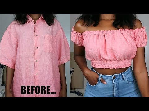 DIY Off The Shoulder Top | Men's Shirt Refashion