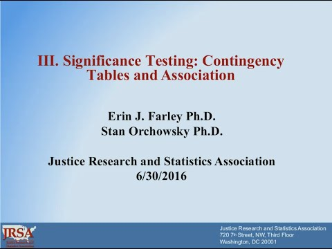 Significance Testing  Contingency Tables and Correlations