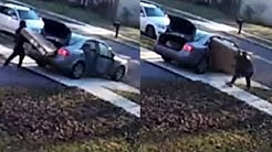 Porch Pirate Struggles to Fit Stolen TV Into Car