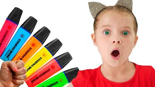 Nicole pretends to play with her Magic Pen Preschool toddler learn color