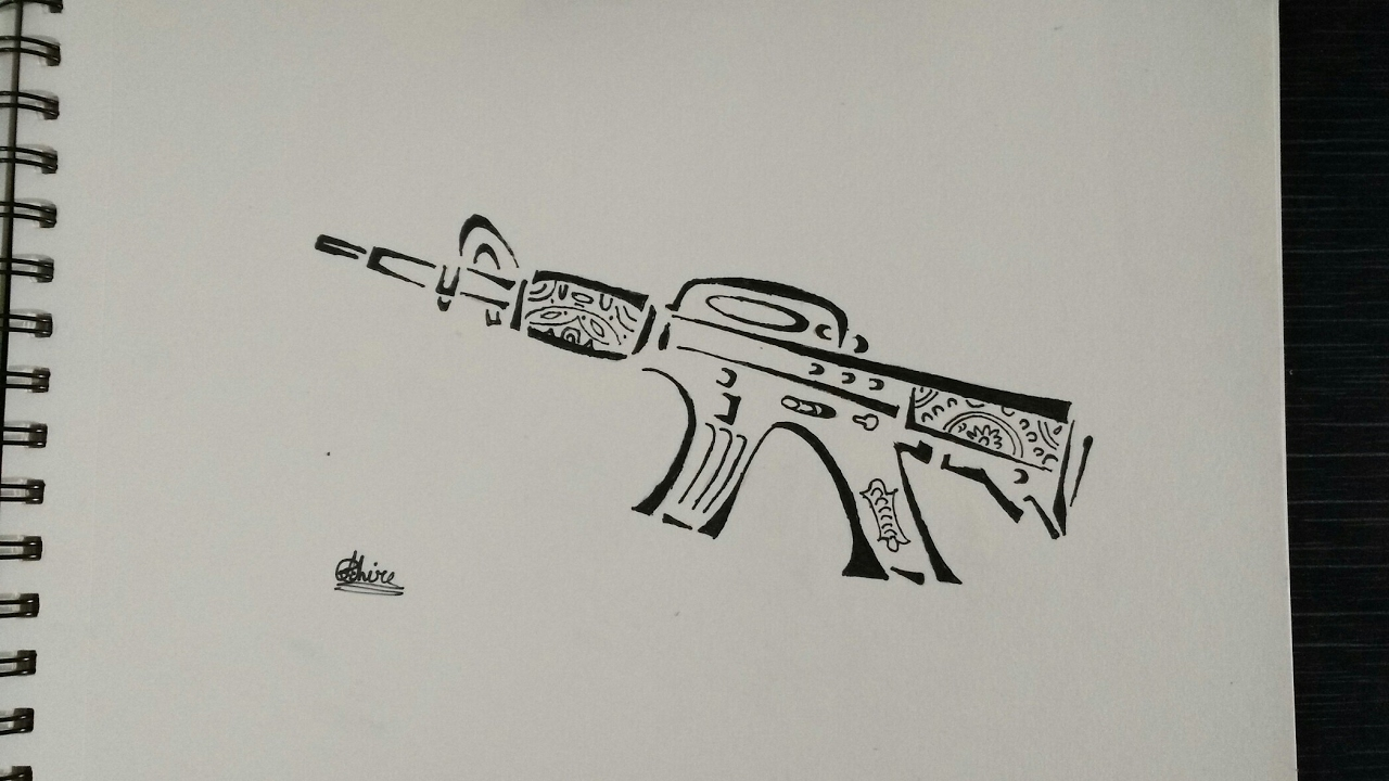 how to draw a gun tattoo youtube