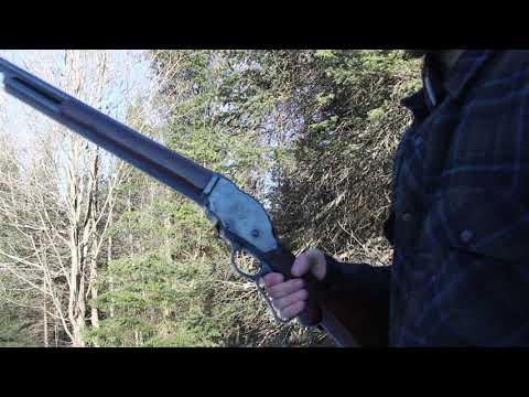 Shooting the Winchester 1887 12 gauge shotgun. Original Brass shells.