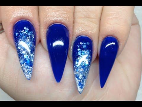 How To Blue Crushed Shell Acrylic Nails
