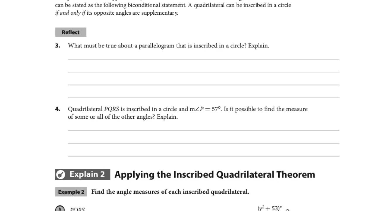 HMH Video 15-2 Angles in Inscribed Quadrilaterals - YouTube