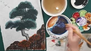 Как рисовать Сосну в цвете видео урок Pine Tree painting tutorial 소나무 수묵화