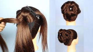 Beautiful Knot Juda Hairstyle Using Donut || trending hairstyle || party hairstyle || updo hairstyle