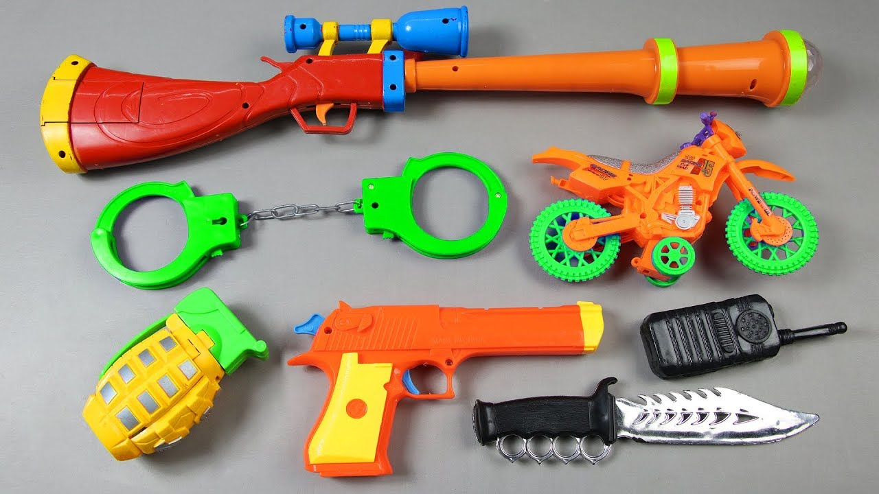 Toy Guns Toys Box Full Of Toys With Realistic Toys Police
