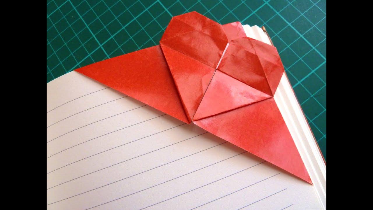 DIY Valentines Origami Heart Corner Bookmark