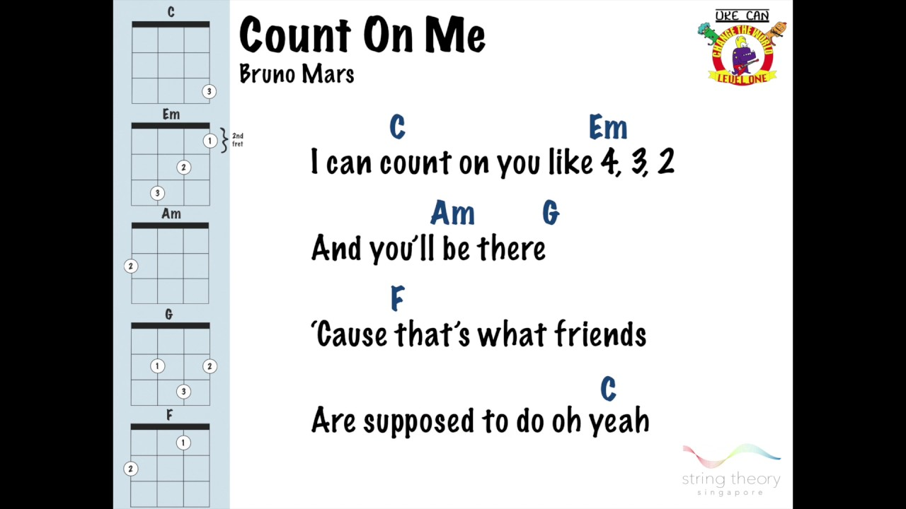 Count On Me Bruno Mars Play Along Ukulele Youtube