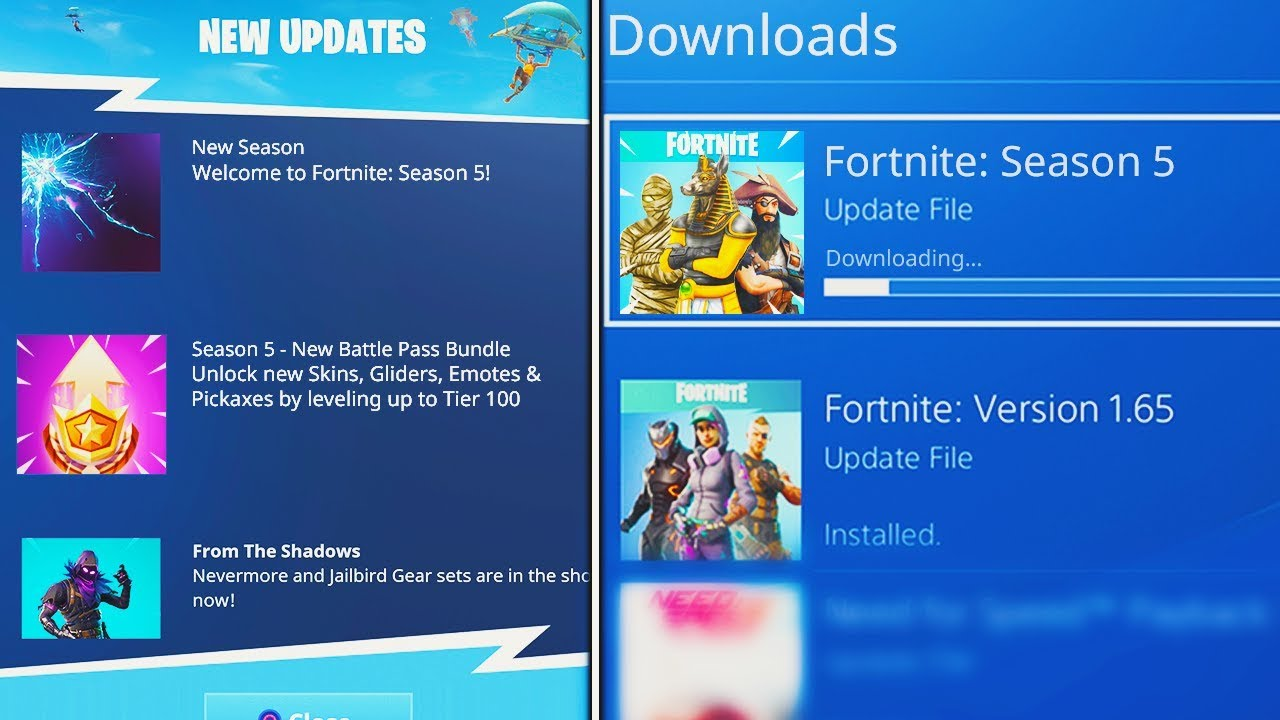 new season 5 download update in fortnite battle royale new season 5 patch notes v5 0 update - fortnite season 8 update size gb