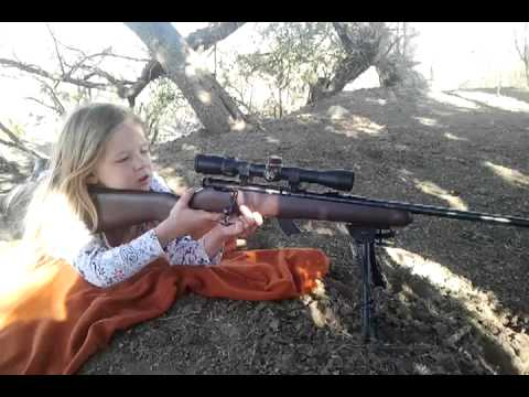 Jade Shooting her Savage mark II 22 youth model  6 years old
