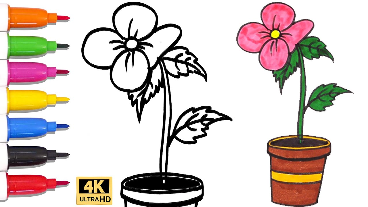 how to draw flower pots