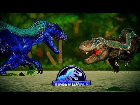 Jurassic World Evolution Blue Lizard Macho Indominus Rex Vs Big Blue Tyrannosaurus Rex Vs Indoraptor