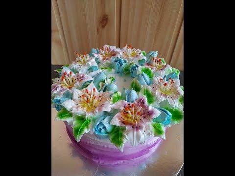 Белково- заварное украшение торта.Торт с лилиями и тюльпанами/Как украсить торт/ /Юлия Клочкова