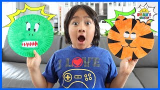 How to Make ABC Animals Paper Plates for kids with Ryan!