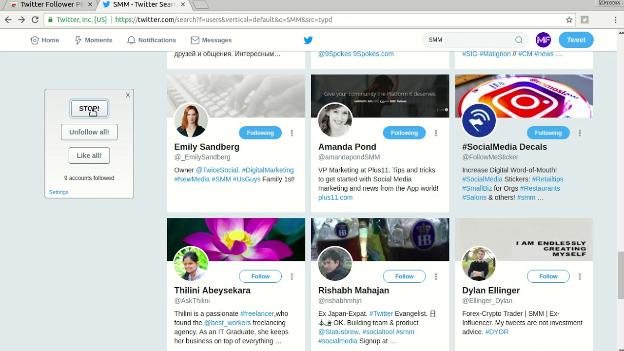 How to mass follow profiles on twitter