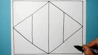 3D Two Point Perspective Drawing / Line Illusion Pattern / Daily Art Therapy / Day 0122