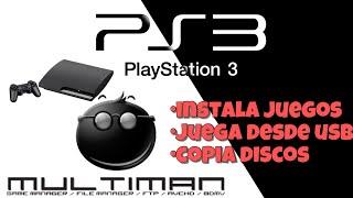 Carga juegos a tu ps3,copia discos o juega desde usb multiman,playstation 3 cualquier version
