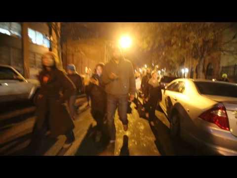 #EricGarner protesters walk down West 121 Street in Harlem