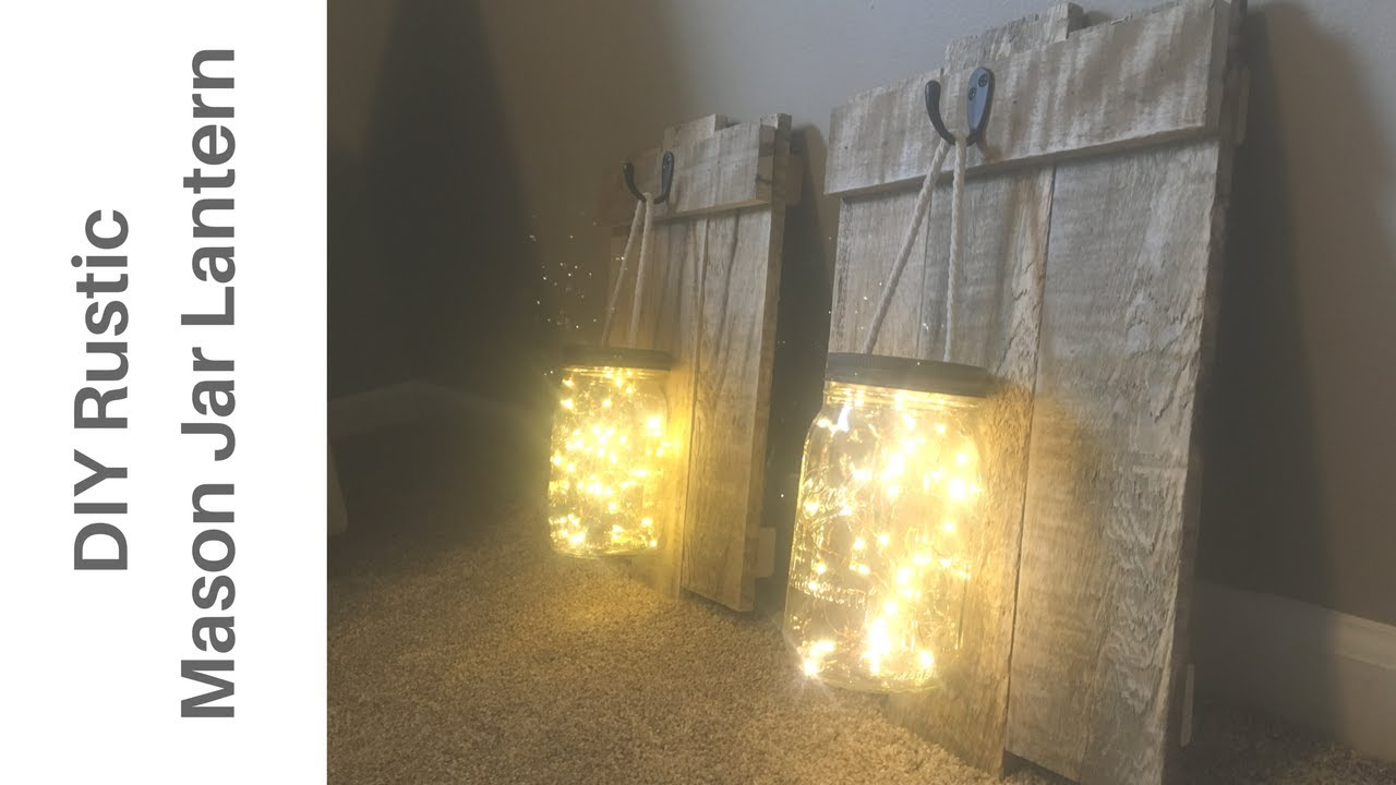 awesome diy rustic mason jar pallet wood lantern sconce youtube. Black Bedroom Furniture Sets. Home Design Ideas