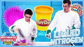 LIQUID NITROGEN VS TOYS | Brothers Do Science: In The Lab