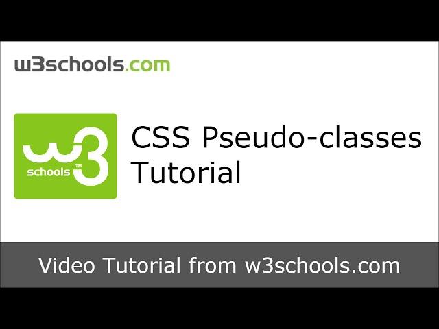 W3Schools CSS Pseudo-classes Tutorial