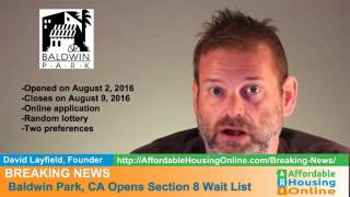 BREAKING NEWS - Baldwin Park, CA Section 8 Opening 8/3/16