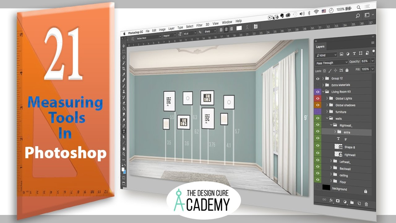 Measuring in Photoshop for Interior Designers : Tutorial #21 by  TheDesignCure Academy