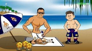 MESSI Ringe RONALDO   für die BERATUNG! (Champions League Vorschau Parodie Cartoon Juve vs Barcelona)