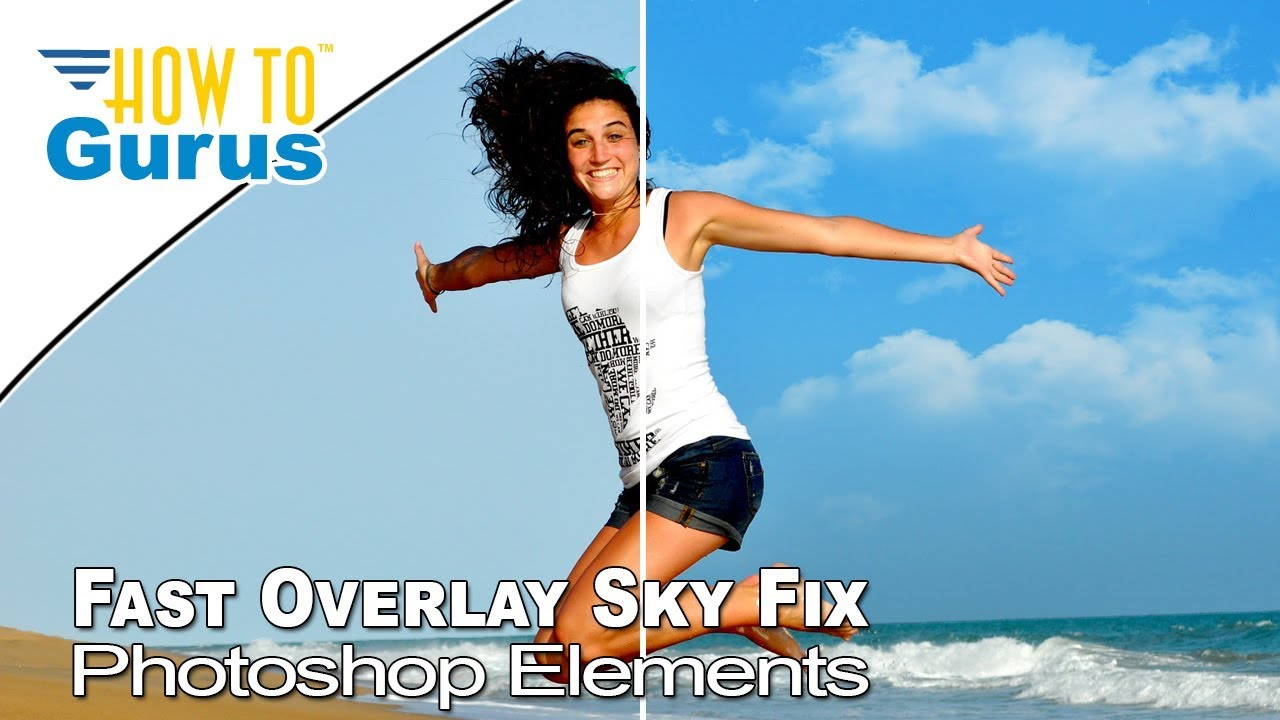 How To Fast Overlay Sky Fix - Magic Wand Layer Mask Adobe Photoshop Elements 2021 2020 2019 2018 15