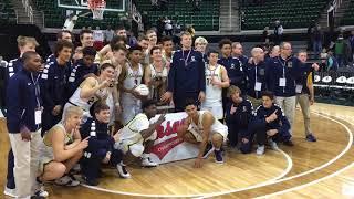Clarkston basketball celebratds winning the 2018 Class A state cham...