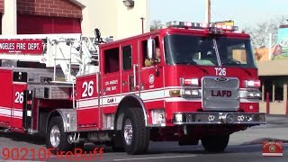 LAFD Rescue 26, Engine 26, & Light Force 26 (NEW Pierce Tiller) Responding