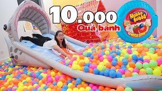 1 HỘP KẸO HUBBA BUBBA ĐỔI 10.000 QUẢ BANH | Cầu Trượt Nhà Banh Khổng Lồ