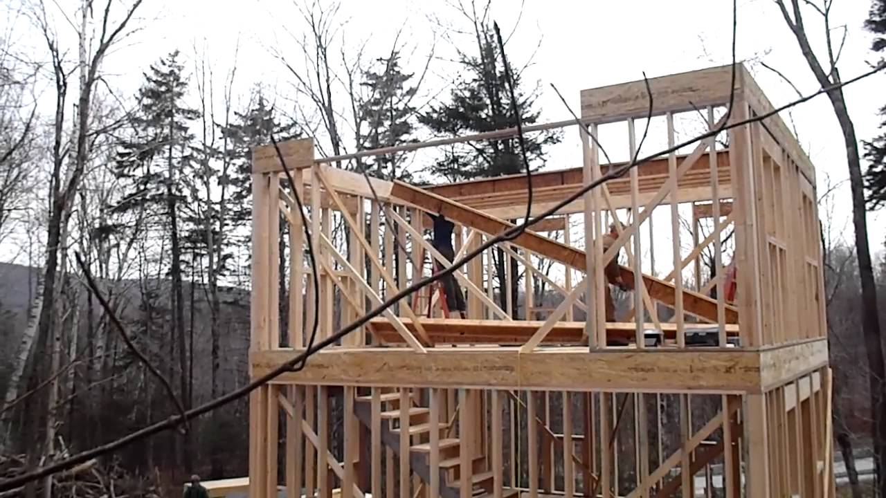 2nd floor joist install 1 youtube for How to build a 2nd story floor