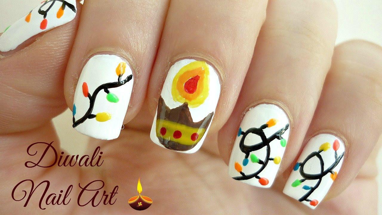 Diwali Nail Art Diya And Lights द व ल न ल आर ट क स कर Indiannailart Youtube