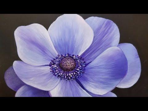 Blue poppy live acrylic painting tutorial youtube blue poppy live acrylic painting tutorial mightylinksfo