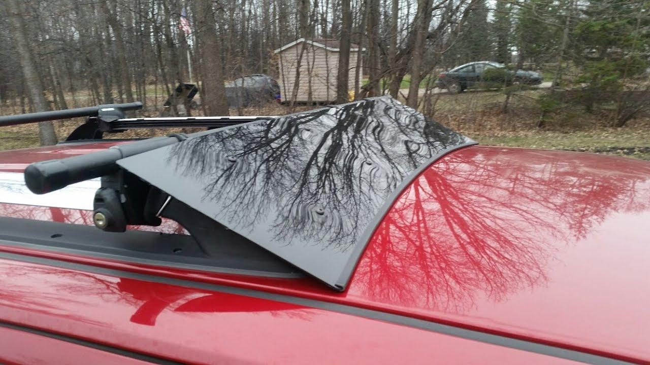 Diy roof rack wind deflector - YouTube