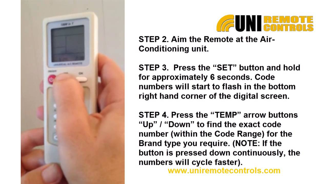 Universal air condition remote control instructions youtube biocorpaavc Choice Image