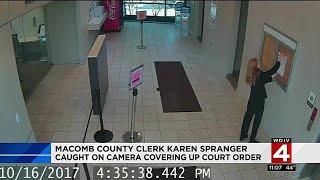 Macomb County Clerk Karen Spranger caught on camera covering up court order