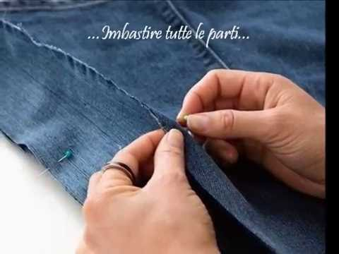 Come trasformare i vecchi jeans in una borsa youtube for Borsa jeans tutorial
