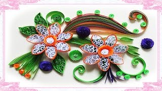 quilling artwork | Made Easy # How to make Beautiful Flower using Paper -Quilling greeting Card
