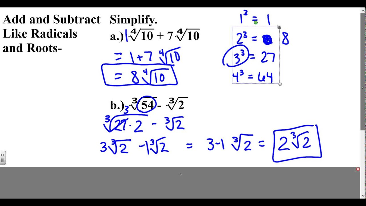 Algebra 2 Lesson 6 2 Part 3 Add And Subtract Radicals
