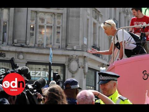 Actress Emma Thompson joins London climate protest in Oxford Street