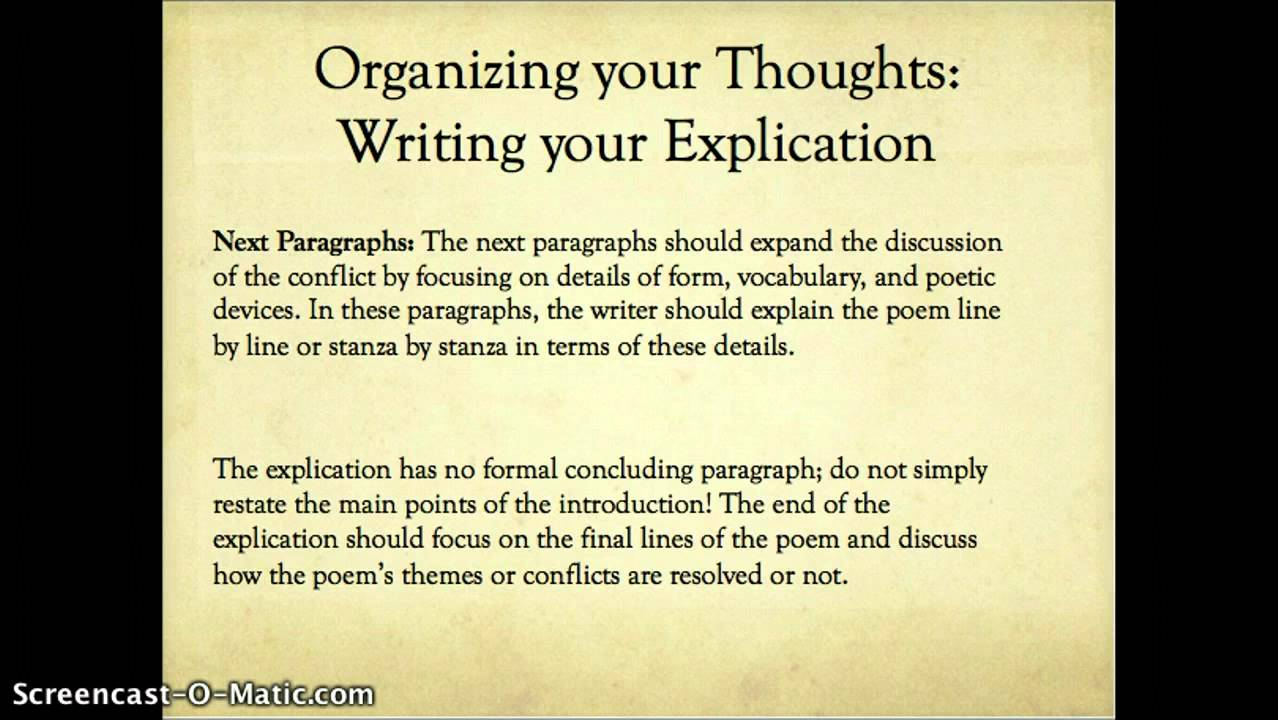 Lecture: Poetry Explication