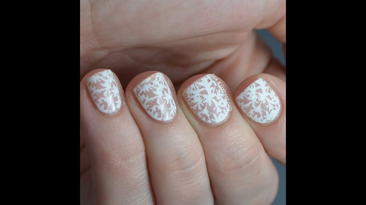 Nude And White Floral Lace Nail Art Tutorial Youtube