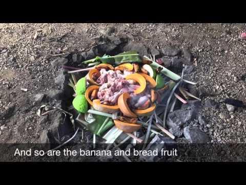 The Umu, an earthen oven by Aitutaki Village Tours, Cook Islands