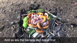 The Umu, an earthen oven by Aitutaki Village Tours, Cook Islands
