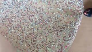 Champagne gold aso oke with silver and fuchsia pink rhinestone