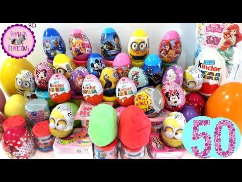 50 Huevos Sorpresa en Español Num Noms, Frozen, Shopkins, PinyPon, Kinder y mucho más...